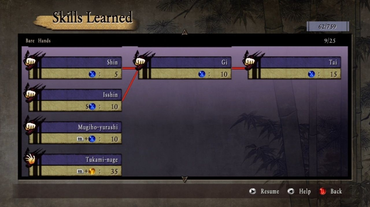 Way of the Samurai 3 Xbox 360 One of the many, many and very very long skill trees.