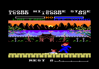 Yie Ar Kung-Fu 2: The Emperor Yie-Gah Amstrad CPC And down she goes.