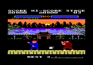 Yie Ar Kung-Fu 2: The Emperor Yie-Gah Amstrad CPC I guess those are fireballs Po-Chin is throwing.