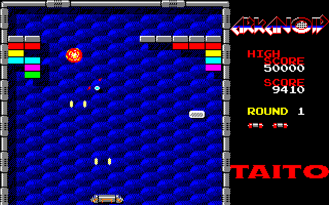 Arkanoid PC-88 The white capsules arre extra lives!