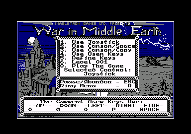 J.R.R. Tolkien's War in Middle Earth Amstrad CPC Title screen and main menu