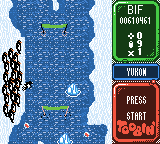 Toobin' Game Boy Color I lost my last life but I have more credits. I can continue.