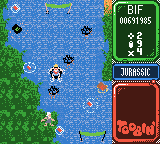 Toobin' Game Boy Color In Jurassic. The Cro-Magnums throw weapons.