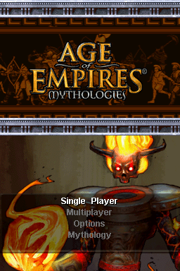 Age of Empires: Mythologies Nintendo DS The title screen.