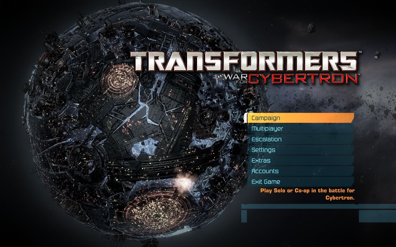 Transformers: War for Cybertron Windows Main menu