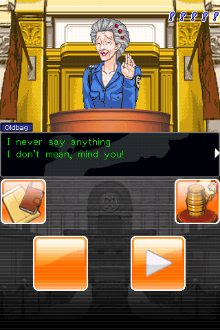 Phoenix Wright: Ace Attorney iPhone Cross-examining the witness, notice the renewed GUI