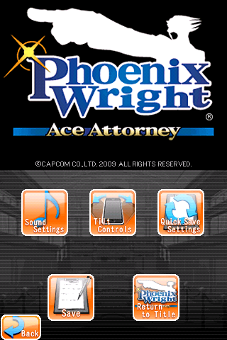 Phoenix Wright: Ace Attorney iPhone Pause menu