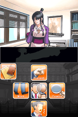 Phoenix Wright: Ace Attorney iPhone If you hold middle button down, it shows options what to do.