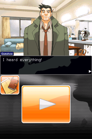 Phoenix Wright: Ace Attorney iPhone Clumsy detective Dick Gumshoe.