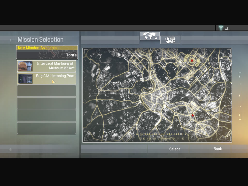 Alpha Protocol Windows This screen shows you all the available missions in a given location