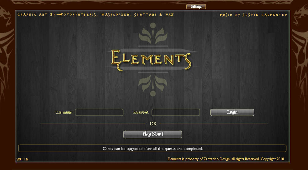 Elements Browser Title & login screen