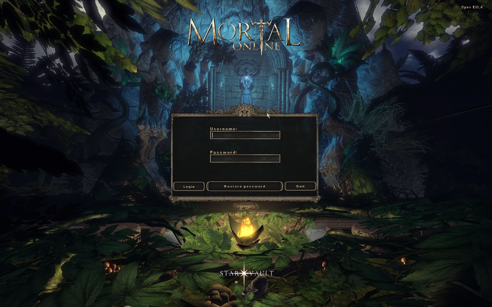 Mortal Online Windows Starting screen