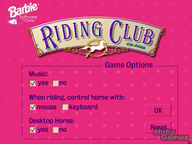 Barbie Adventure: Riding Club Windows The options screen - not a lot of choices!