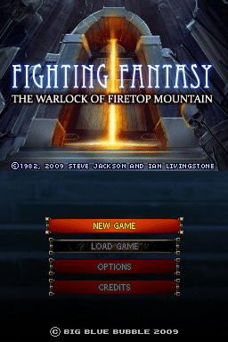 Fighting Fantasy: The Warlock of Firetop Mountain Nintendo DS The title screen.