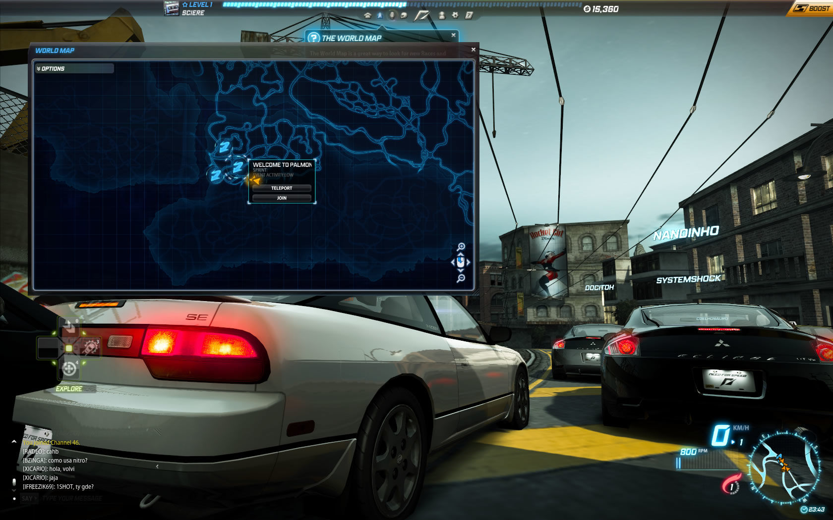 Need for Speed: World Windows Browse the world map for events and teleport right away