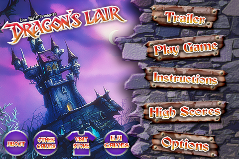 Dragon's Lair iPhone Main Menu