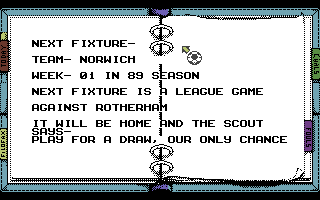 Kenny Dalglish Soccer Manager Commodore 64 Next Fixture