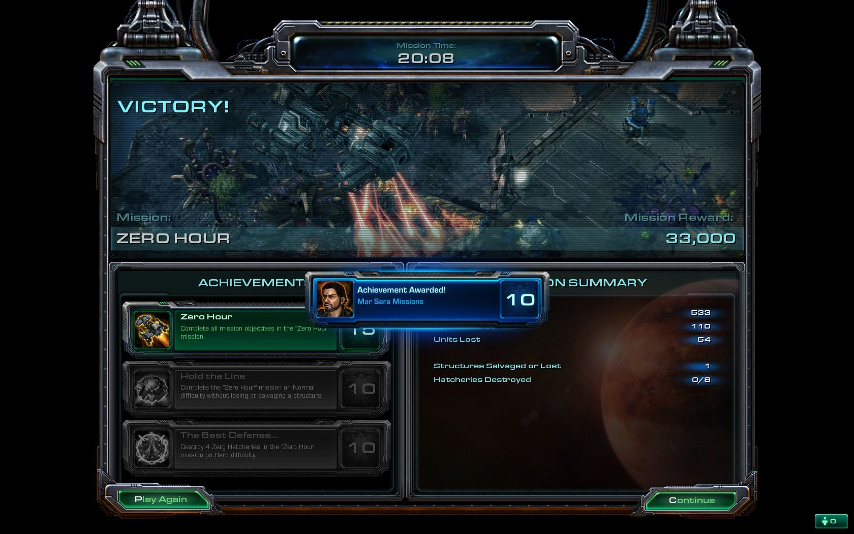 StarCraft II: Wings of Liberty Windows Finished all of Raynor's missions and earned one of the several dozen achievements.