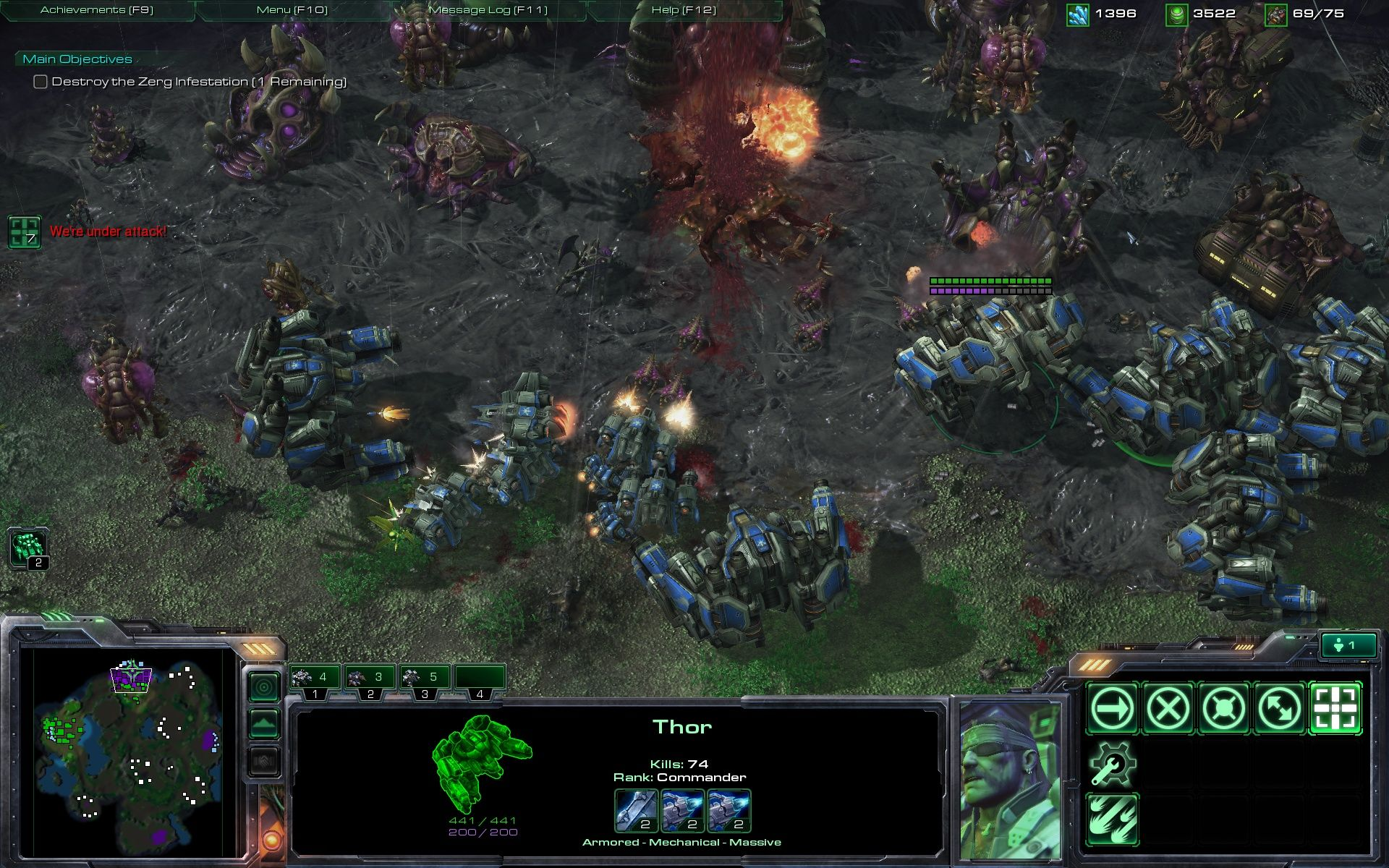 StarCraft II: Wings of Liberty Windows Using a horde of Thors to kill a horde of Zergs.