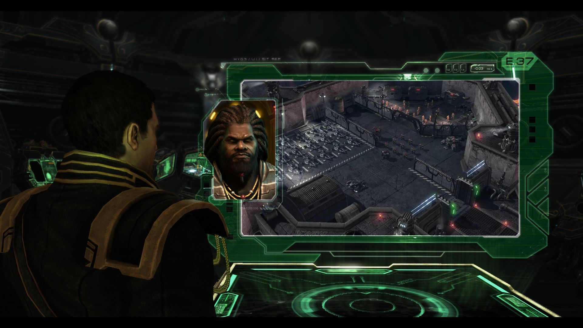 StarCraft II: Wings of Liberty Windows Getting a briefing for the next mission.