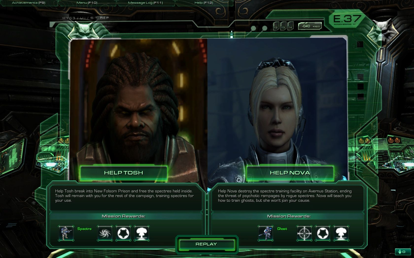 StarCraft II: Wings of Liberty Windows This is one of three times you'll be offered a choice.