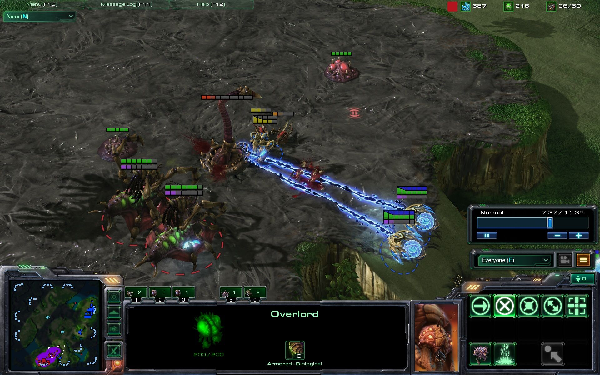 StarCraft II: Wings of Liberty Windows Multiplayer: The Protoss try an early attack.