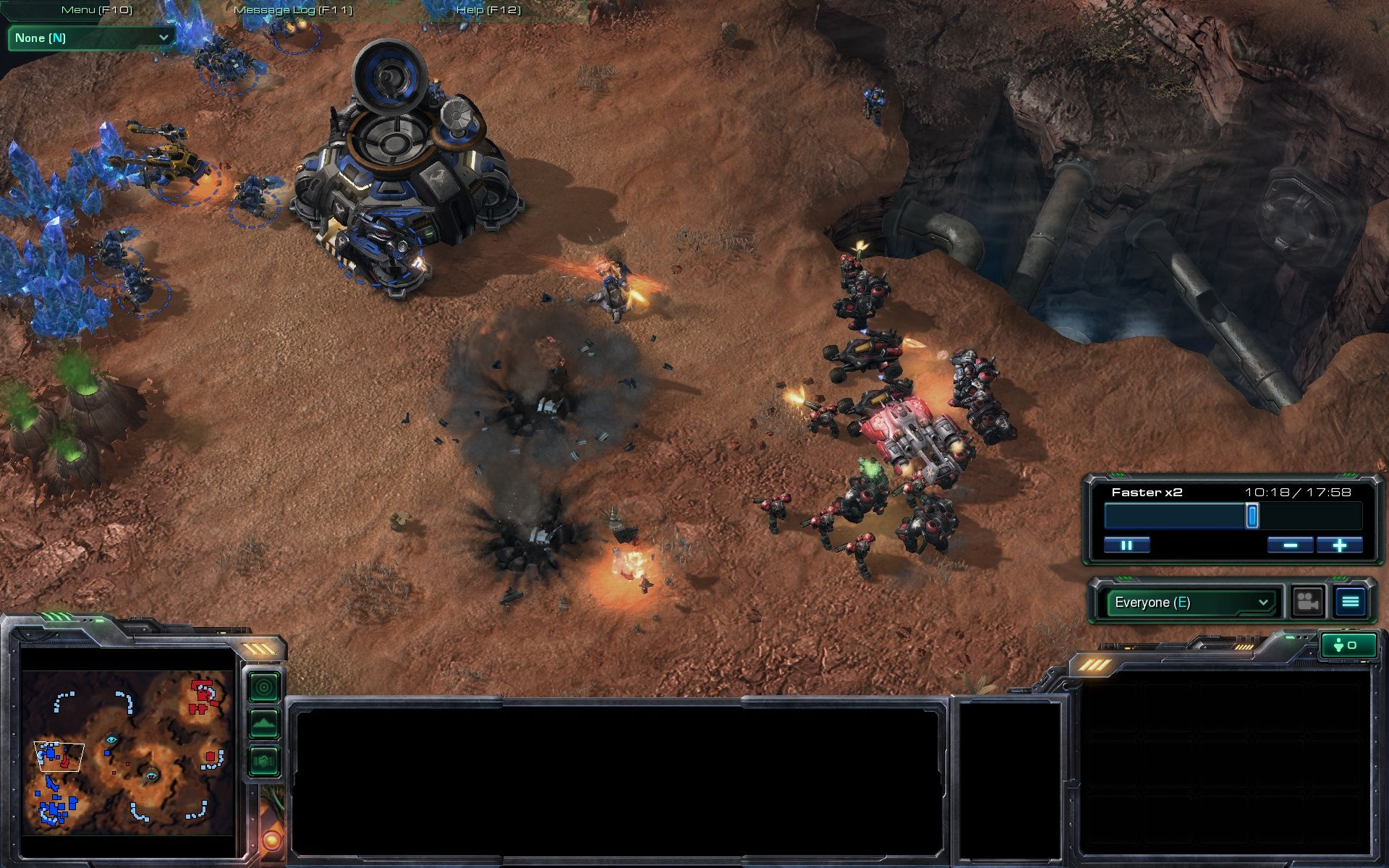 StarCraft II: Wings of Liberty Windows Multiplayer: Two Terran players fight it out.
