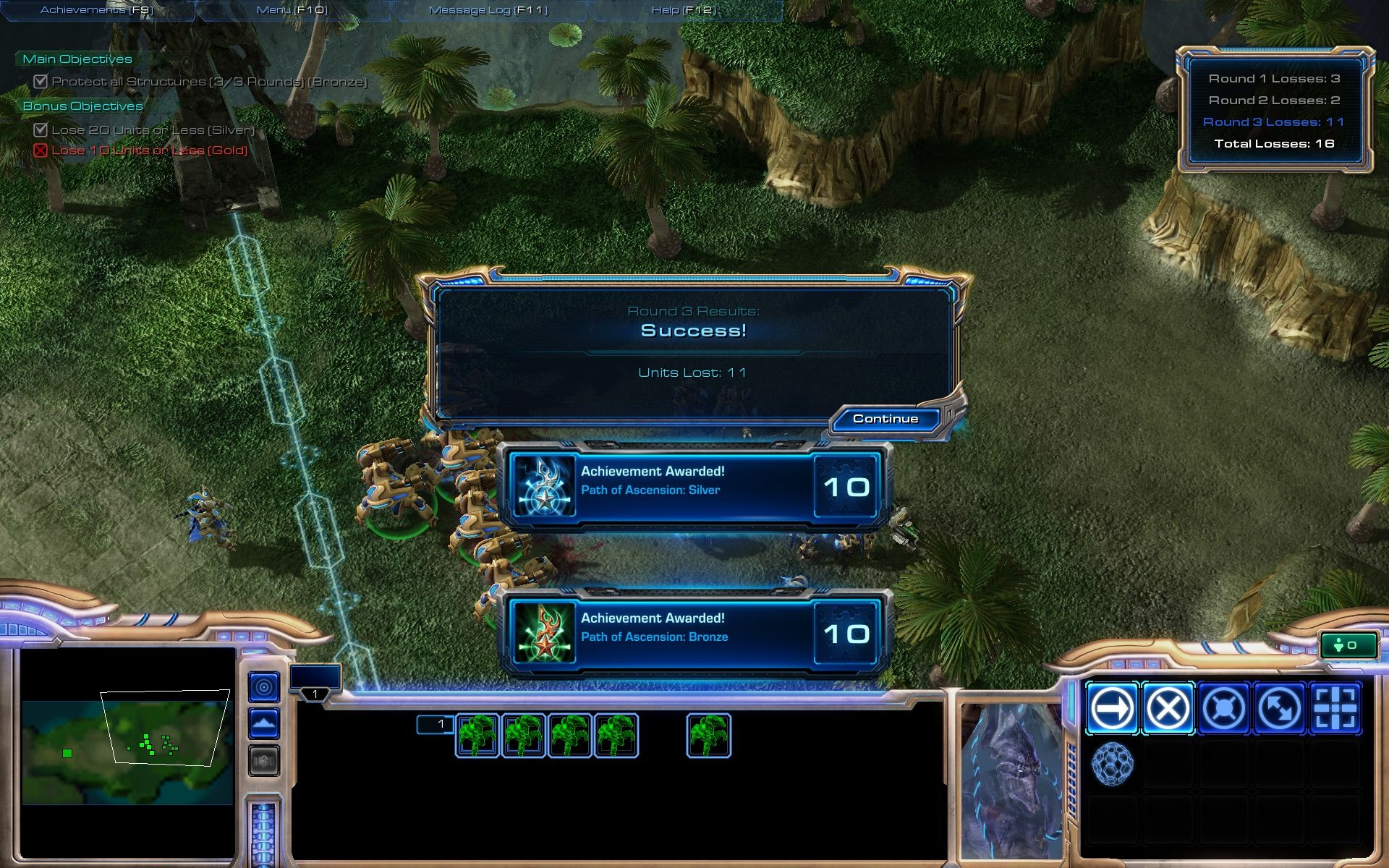StarCraft II: Wings of Liberty Windows Challenges: earned two achievements - but not the gold medal :(.