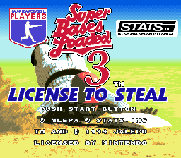 Super Bases Loaded 3: License to Steal SNES Title screen
