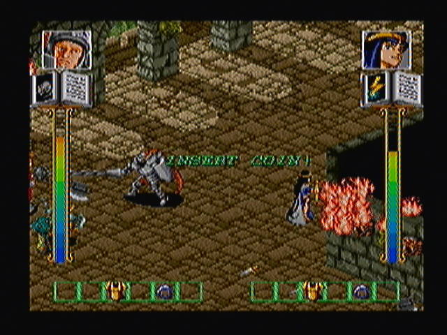 "Dark Seal Zeebo Two players gameplay shown as demonstration. The arcade game wasn't changed so you still see the ""insert coin"" message flashing while the game is demonstrated."