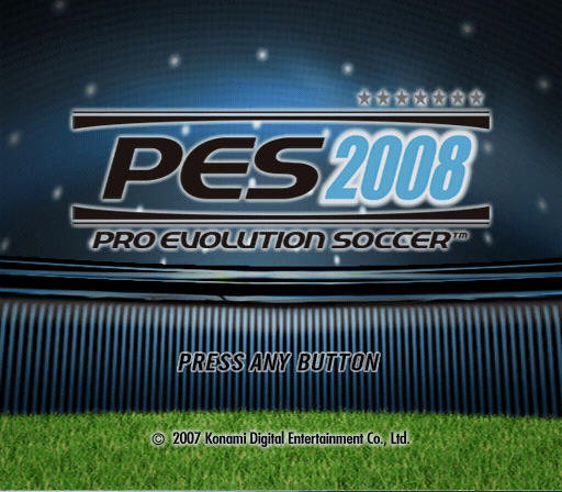 PES 2008: Pro Evolution Soccer PlayStation 2 Title screen.