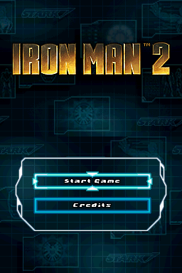 Iron Man 2 Nintendo DS Title screen with main menu.