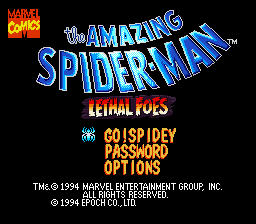 The Amazing Spider-Man: Lethal Foes SNES Title Screen