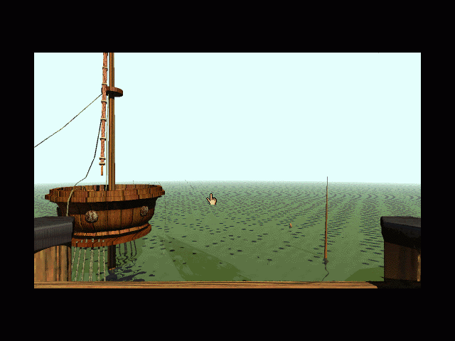 Myst Macintosh Looking off dock with sunken boat