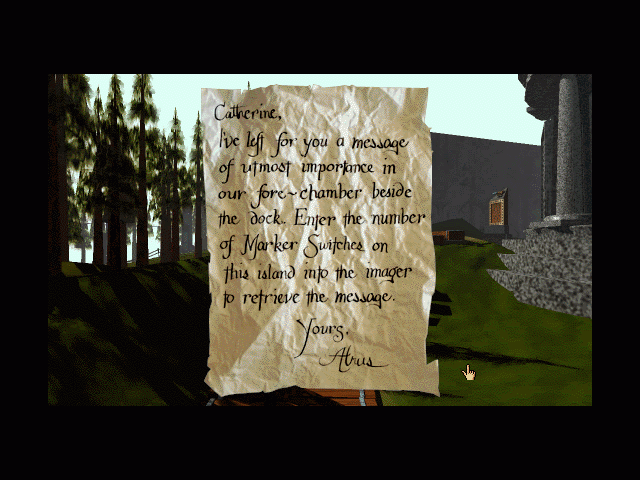Myst Macintosh Catherine's note from Atrus