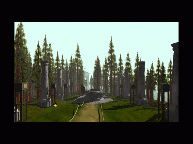 Myst Macintosh Looking at the island from the library