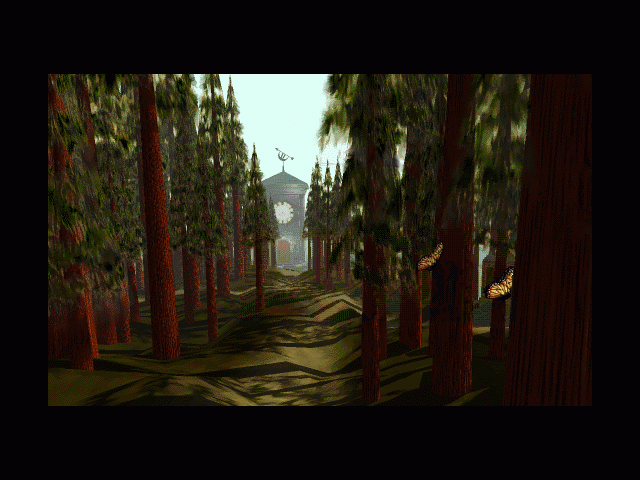Myst Macintosh Wooded path with butterflies down to the clock tower