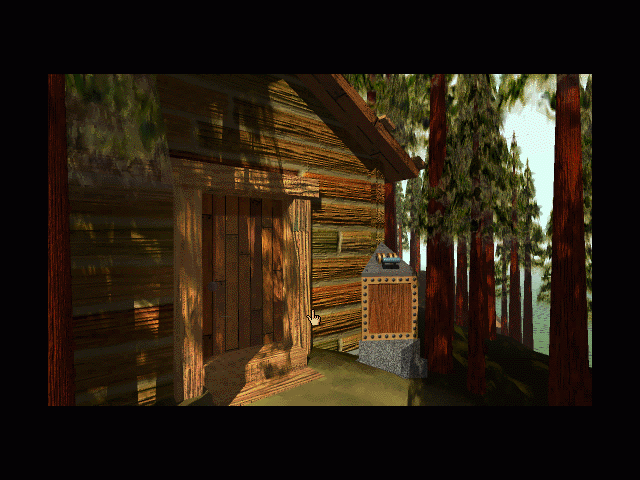 Myst Macintosh Log cabin entrance and marker switch