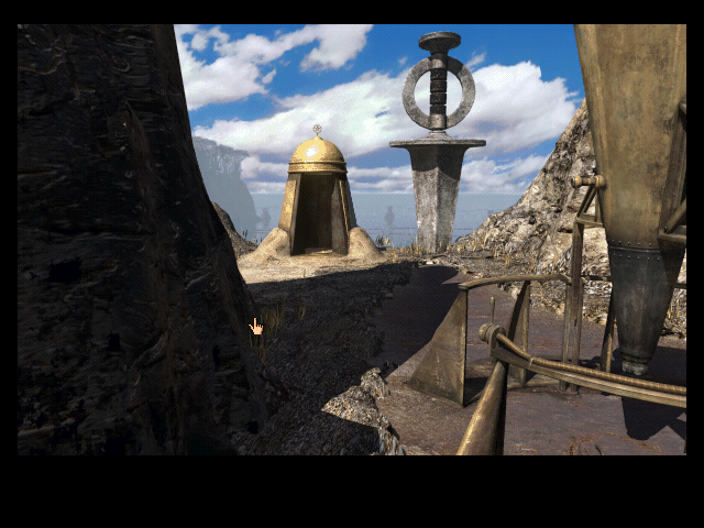 Riven: The Sequel to Myst Macintosh Strange telescope device and our cage now open when the game started.
