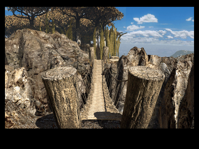 Riven: The Sequel to Myst Macintosh Crossing a wooden foot bridge
