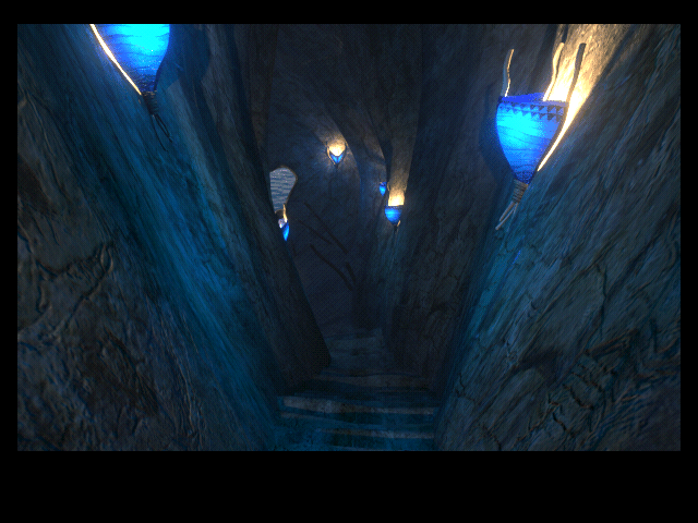 Riven: The Sequel to Myst Macintosh Through the jungle down the blue-lit cave with rocky steps