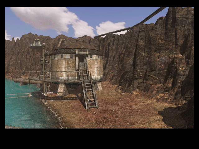 Riven: The Sequel to Myst Macintosh Looking at the boiler building at crater island