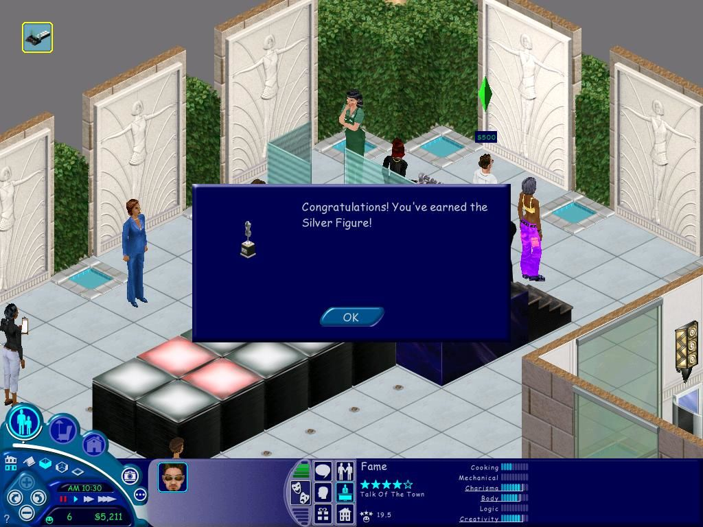 The Sims: Superstar Windows Once you get adapt at something, you can win an award!