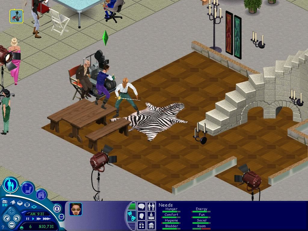 The Sims: Superstar Windows My first real movie!  I'm the good guy (on the table) trying to kill the bad guy.
