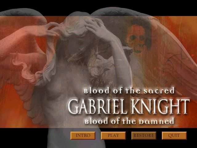 Gabriel Knight 3: Blood of the Sacred, Blood of the Damned Windows Title screen and main menu