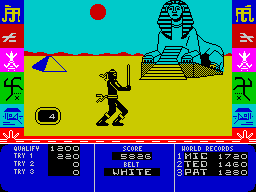 Ninja Master ZX Spectrum Start of mini game 3. The stars come at you either high, middle or low and at various speeds, 9 stars per try.
