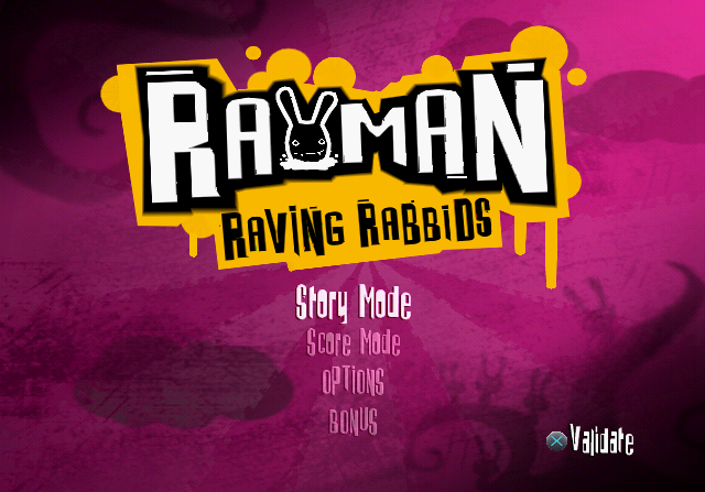 Rayman Raving Rabbids PlayStation 2 Title screen / Main menu.