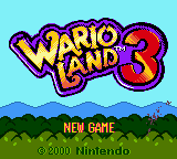 Wario Land 3 Game Boy Color Title/Main Menu