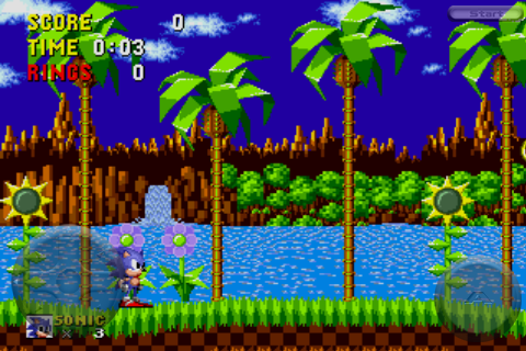 Sonic the Hedgehog iPhone The familiar Green Hill Zone stage.