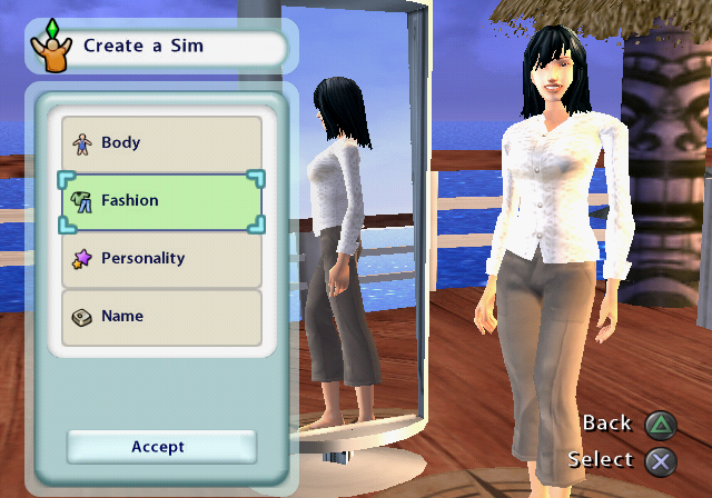 The Sims 2: Castaway PlayStation 2 Customizing a Sim.